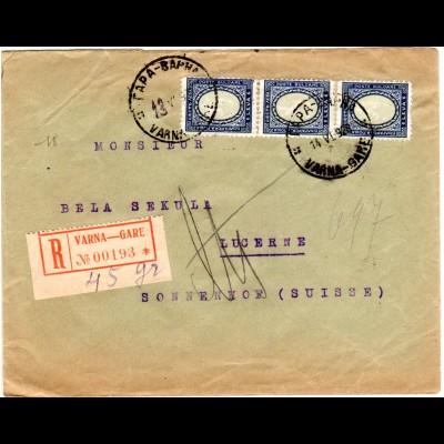 Bulgarien 1928, MeF 3x6 L. auf Einschreiben Brief v. Varna i.d. Schweiz