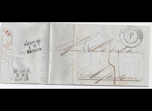 Preussen NL 1853, K2 Landeshut auf Porto Brief m. Bahnpost Breslau Berlin. #1608