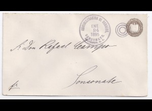 El Salvador 1895, stationery cover, local 1 Cvo. usage Sonsonate. #1356