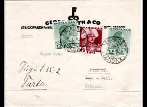Rumänien 1935, 6+2x2 L. auf Firmen Brief v. Brasov n. Estland.