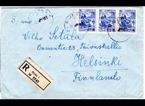 Jugoslawien 1951, 3er-Streifen 5 D. auf Einschreiben Brief v. Rijeka n. Finnland