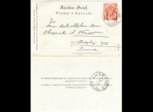 Bosnien Herzegowina 1900, K2 KuK Militärpost LXIV ILIDZE auf Kartenbrief