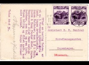 Liechtenstein 1931, Paar 10 Rp. auf Karte m. Werbestpl. v. VADUZ n.Dänemark