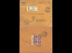 Schweiz 1923, 4er-Block 20 C. m. Bogenrand, rücks. auf Reko Brief v. Bern. #2540