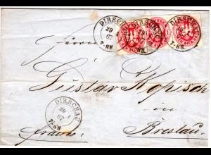Preussen 1867, 3x1 SGr. auf Brief v. DIRSCHAU n. Breslau