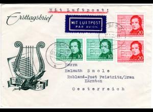 DDR 1956, je 2x10+20 Pf. Schumann auf Luftpost Brief v. Riesa n. Österreich