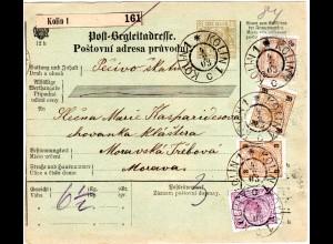 Österreich 1903, 4-farbige Buntfrankatur u. rs. Porto auf Paketkarte v. KOLIN