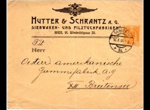Österreich 1906, gebr. 6 H. Privat Ganzsache Brief Hutter&Schranz Wien