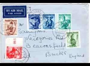 Österreich 1949, 6 Trachten Marken auf Luftpost Brief v. LEND n. GB
