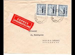Belgien 1946, MeF 3x3,15 F. auf Express Brief v. Brüssel i.d. Schweiz