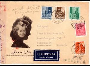 Ungarn 1943, 5 Marken auf Zirkus Umschlag m. dt. Zensur p. Luftpost n. Dänemark