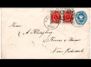 Dänemark 1889, Paar 8 öre Zusatzfr. auf 4 öre Ganzsache v. HADSUND n. Österreich