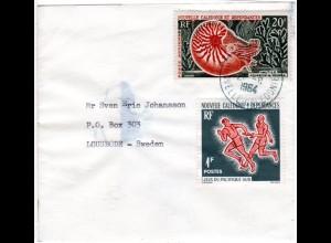 Nouvelle Caledonie 1964, 1+20 F auf Drucksachen Streifband v. Noumea n. Schweden