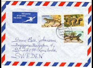 Lesotho 1979, 3 Reptilien Marken auf Luftpost Brief v. Mazenod n. Schweden