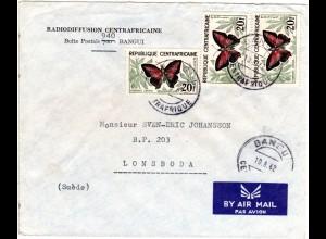 Rep. Centrafricaine 1962, MeF 3x20 F. Schmetterlinge auf Luftpost Brief