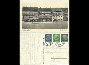 Halberstadt Fischmarkt, 1937 gebr. sw-AK m. 3 Marken n. Schweden. #2599