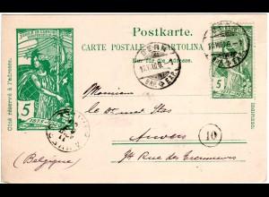 Schweiz 1900, UPU 5 C. Zusatzfr. auf 5 C. Ganzsache v. Bern n. Belgien