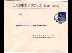 Schweiz 1913, 25. C. Privat Ganzsache Brief Papierfabrik Biberist n. Württemberg