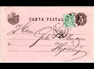 Rumänien 1888, 5 B. Zusatzfr. auf 5 B. Ganzsache v. Jassy n. Itzkany