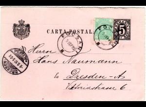 Rumänien 1892, 5 B. Zusatzfr. auf 5 B. Ganzsache v. Focsani m. rs. Zudruck
