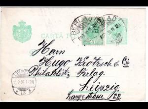 Rumänien 1905, 5 B. Zusatzfr. auf 5 B. Ganzsache v. Berlad n. Deutschland