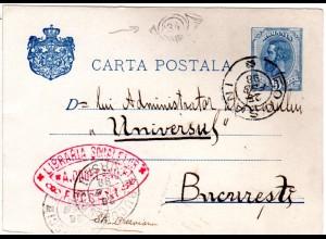 Rumänien 1898, Bukarest Posthorn Briefträgerstpl. 34 auf 5 B. Ganzsache