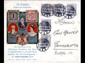 DR 1906, 4x2 Pf. Zusatzfr. auf 2 Pf. Privat Ganzsache Brief v. Mannheim