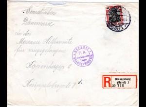 DR 1914, 40 Pf. Germania auf Einschreiben KGF POW Zensur Brief v. Brandenburg