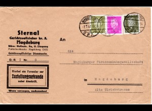 DR 1932, 6+10+30 Pf. auf Zustellungsurkunde Orts-Brief v. Magdeburg