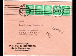 DR 1939, MeF 5er-Streifen 5 Pf. auf Brief v. Berlin-Charlottenburg n. Schweden