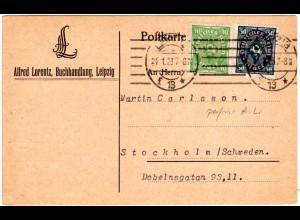 DR 1923, 40+50 Pf. m. perfin Firmenlochung auf Karte v. Leipzig