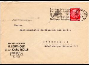 DR 1935, Dresden Maschinenstpl. Der Rote Hahn Feuerschutz...auf Brief m. 12 Pf.