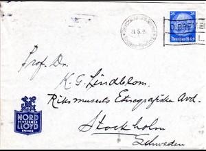 DR 1935, 25 Pf. auf Lloyd Brief n. Schweden m. Schiffspost Stpl. Dampfer Bremen