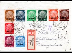 Elsass 1940, 9 versch. Marken auf Einschreiben Brief v. Mühlhausen (Els)