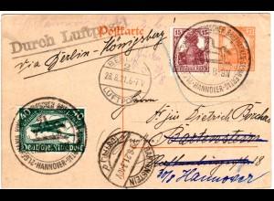 DR 1921, 40 Pf. Flugpost auf Ganzsache m. Zusatzfr. ab Hannover u. pr. Luftpost