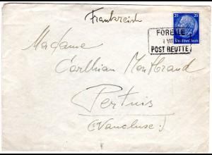 DR 1939, Östereich Posthilfstellen Stpl. Forelle Post Reutte auf Brief m. 25 Pf.