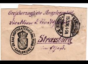 DR 1896, portofreies Streifband Großherzogliche Angelegenheit v. Karlsruhe