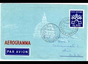Vatikan, 55 L. Aerogramm Ganzsache, 1950 adressiert n. USA