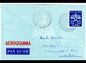 Vatikan, 55 L. Aerogramm Ganzsache m. Diagonalkreuz, 1950 adressiert n. USA