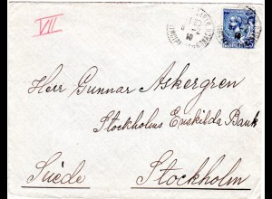 Monaco 1919, 25 C. auf Brief v. Monte Carlo n. Schweden.