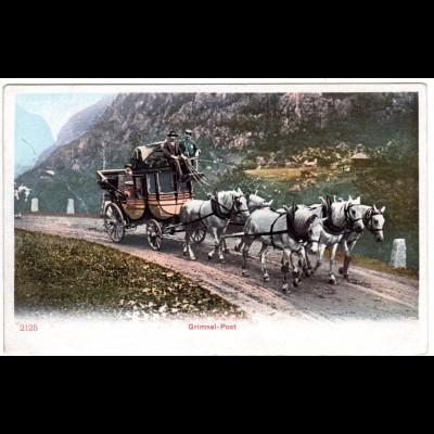 Schweiz, Grimsel-Post Pferdekutsche, ungebr. Farb-AK