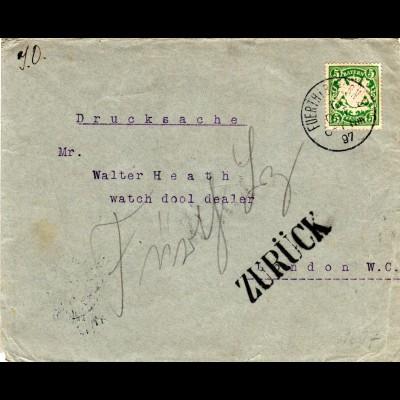 Bayern 1897, EF 5 Pf. auf Drucksache v. Fürth n. GB m. Retour-Stempeln.