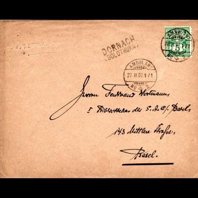 Schweiz 1902, L2 Dornach u. Bahnpost Stpl. Ambulant No.2 auf Brief m. 5 C.
