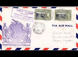 Trinidad & Tobago 1941. 1st Flight cover Port of Spain-Lagos, Nigeria