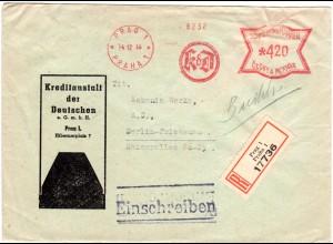Böhmen u. Mähren 1944, KdD Bank Maschinen Freistpl. auf Reko Brief v. Prag