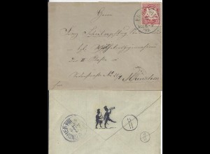 Bayern 1892, K1 Lenggries auf Brief m. rücks. Prägedruck Musikanten. #1211