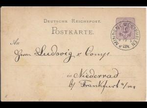 """DR 1879, Klaucke Stpl. """"Minden i. Westphalen 1b"""" sehr klar auf Ganzsache. #2265"""