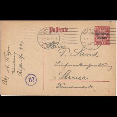 Bayern 1919, 10 Pf. Ganzsache (P104), Auslandsverwendung n. Dänemark. #1119