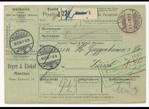 Bayern 1908, EF 80 Pf. auf Paketkarte v. München i.d. Schweiz. #471