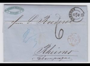 Sachsen Frankreich 1865, K2 Dresden auf Brief ü. Forbach m. Porto Stpl. 6 #2436